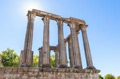 Ancient Roman temple in Evora Stock Photo