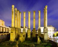 Ancient roman temple in  night.  Cordoba Royalty Free Stock Photography