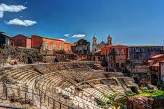 Ancient Roman theater in Catania stock images