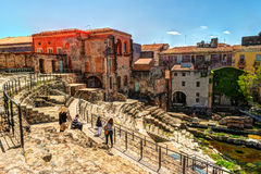 Ancient Roman theater in Catania royalty free stock image