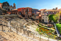 Ancient Roman theater in Catania Royalty Free Stock Images