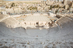 Ancient roman theater and city view in Amman Stock Photo