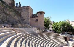 Ancient Roman Theatre near Malaga Alcazaba castle on Gibralfaro mountain, Andalusia, Spain Stock Photo