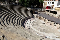 Ancient Roman Theatre near Malaga Alcazaba castle on Gibralfaro mountain, Andalusia, Spain Royalty Free Stock Image