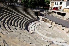 Ancient Roman Theatre near Malaga Alcazaba castle on Gibralfaro mountain, Andalusia, Spain Royalty Free Stock Image