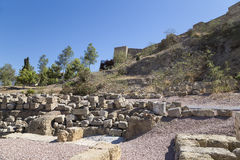 Ancient Roman Theatre near Malaga Alcazaba castle on Gibralfaro mountain, Andalusia, Spain. Royalty Free Stock Image