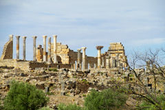 Ancient roman town, temple columns ruins Stock Image