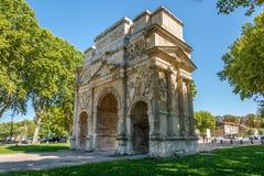 Ancient Roman Triumphal Arch of Orange - France Stock Images