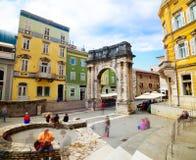 Ancient Roman Triumphal Arch in Pula, Croatia Royalty Free Stock Photos