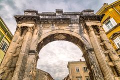 Ancient Roman triumphal Arch of the Sergii in Pula, Croatia. Royalty Free Stock Photo