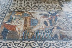 Ancient roman Volubils ruins and mosaics stock photo