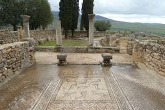 Ancient roman Volubils ruins and mosaics stock photography