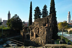 Ancient roman wall remains. The remains of a roman wall in an ancient Roman theatre, Italy Stock Photo