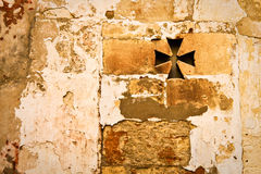 Ancient roman wall texture with crossed window. In Arles, Provence, France Royalty Free Stock Photo