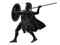 Ancient Roman Warrior. Ancient Roman warrior with a spear and shield in his hands is ready to attack. Vector illustration isolated on white background vector illustration