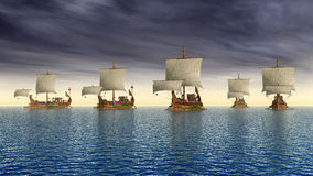 Ancient Roman Warships. Computer generated 3D illustration with ancient Roman warships Royalty Free Stock Image