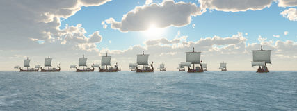 Ancient Roman Warships. Computer generated 3D illustration with a fleet of ancient Roman warships Royalty Free Stock Image