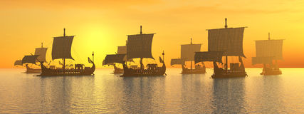 Ancient Roman Warships Stock Image
