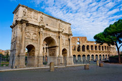 Ancient Rome. The Colosseum and Trajan Arch, ancient Rome most famous landmarks Stock Photo