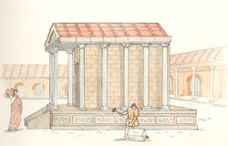 Ancient Rome. Vision of a temple of Ancient Rome Royalty Free Stock Images