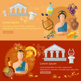 Ancient Rome and Ancient Greece banners tradition and culture Stock Photography
