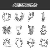Ancient rome cartoon icons set Stock Images