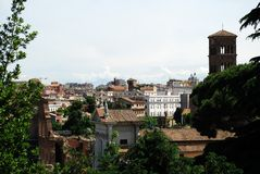Ancient Rome city aerial view from Palatino hill Stock Photography