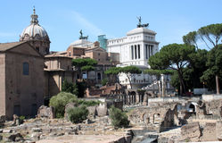 Ancient Rome and modernity. Exursion to the ruins of ancient Rome royalty free stock image