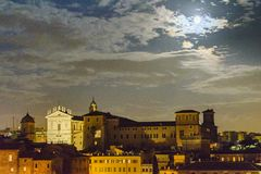 Night Scene Rome Cityscape Aerial View. Ancient rome night cityscape aerial view from vitorio emanuelle monument viewpoint Stock Image