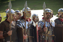 Ancient Rome: reenactment of the battle between Marcus Aurelius and Ballomar Royalty Free Stock Images