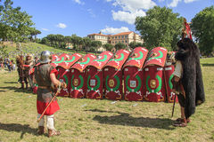 Ancient Rome: reenactment of the battle between Marcus Aurelius and Ballomar Stock Photography