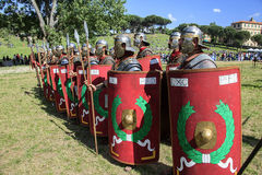 Ancient Rome: reenactment of the battle between Marcus Aurelius and Ballomar Stock Image