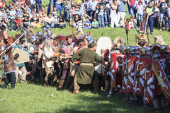 Ancient Rome: reenactment of the battle between Marcus Aurelius and Ballomar Stock Photo