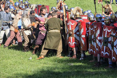 Ancient Rome: reenactment of the battle between Marcus Aurelius and Ballomar Stock Images