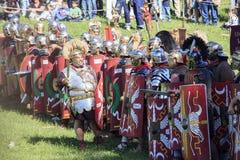Ancient Rome: reenactment of the battle between Marcus Aurelius and Ballomar Stock Image