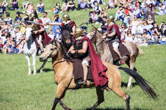Ancient Rome: reenactment of the battle between Marcus Aurelius and Ballomar Royalty Free Stock Image