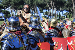 Ancient Rome: reenactment of the battle between Marcus Aurelius and Ballomar Royalty Free Stock Photography