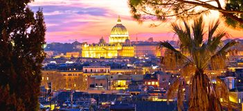 Ancient Rome rooftops and Vatican evening panoramic view royalty free stock photo