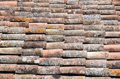 Ancient roof. Roof of ancient tiles of terracotta of one of the housings of Cracassonne's Citadel royalty free stock image
