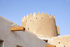Ancient roof drain system & Northern tower of Zubarah fort, Qatar. The Zubarah Fort built in 1938 follows a traditional concept with a square ground plan Stock Photography