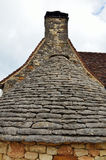 Ancient roof with limestone flat tiles Royalty Free Stock Photos