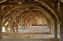 Ancient Roof Trusses. In architecture and structural engineering, a truss is a structure comprising one or more triangular units constructed with straight Royalty Free Stock Photography