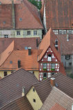Ancient roofs, bad wimpfen. Aerial view of roofs of ancient city center Royalty Free Stock Image