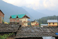 The ancient roofs. Of Manali in the mountains of India Royalty Free Stock Photo