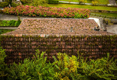 Ancient rooftop from a tile in Luxembourg close-up Royalty Free Stock Image