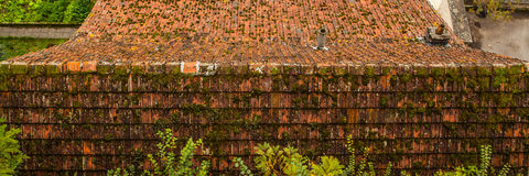 Ancient rooftop from a tile in Luxembourg close-up Stock Images