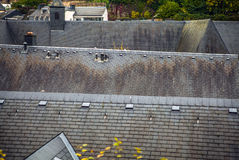 Ancient rooftop from a tile in Luxembourg close-up Stock Photo