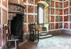 Ancient room. A beautiful room inside a medieval castle in Tuscany, Italy Stock Images