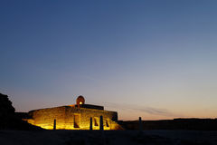 Ancient rooms of Bahrain Fort during blue hours Royalty Free Stock Photo