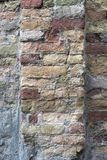 Ancient rough brick wall. Vertical image Royalty Free Stock Images
